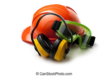 casco, occhiali protezione, sicurezza, auricolari, rosso