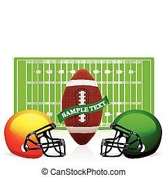 casco, palla, football, americano, vettore, campo
