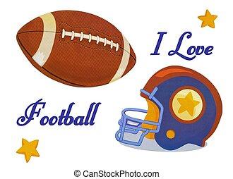 casco, pelota, amor, foto, fútbol, ilustración, acción