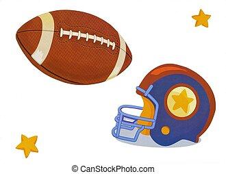 casco, pelota, fútbol, ilustración, estrellas, acción