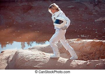 casco, pianeta, immagine, effetto, acqua, senza, astronauta, un altro, marte, futuristico, intonando