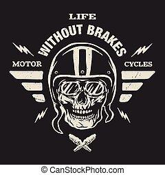 casco, piattaforma girevole, style., cranio, vendemmia
