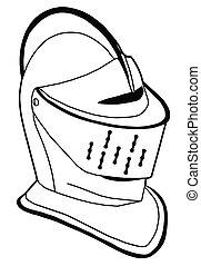 casco, pieno, secolo, isolato, faccia, 16th, guerra