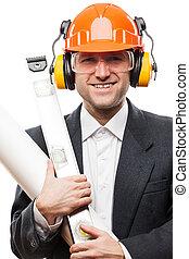 casco, plan, aislado, hombre de negocios, mano, papel, seguridad, dibujos, tenencia, traje, hardhat, blanco, ingeniero, herramientas, negro