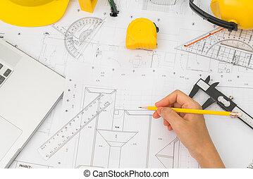 casco, planos, planes, encima, amarillo, mano, construcción, herramientas, dibujo
