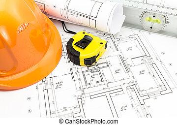 casco, planos, y, herramientas, en, lugar de trabajo