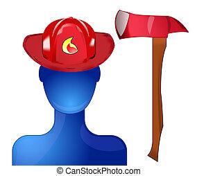 casco, pompiere, ascia