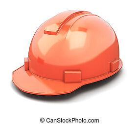 casco, primer plano, construcción, aislado, blanco