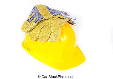 casco, protección, guantes