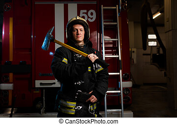 casco, protector, bombero, fuego, imagen, camión, plano de ...