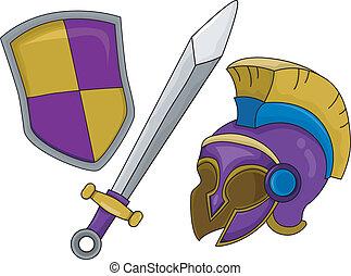 casco, protector, gladiator, espada