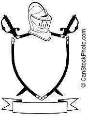 casco, protector, siglo, espadas, aislado, guerra, bandera, ...