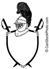 casco, protector, siglo, plumaged, espadas, aislado, guerra...