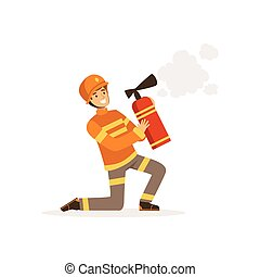 casco, protettivo, estintore, pompiere, fuoco, carattere, schiuma, pompiere, illustrazione, uniforme, spruzzare, vettore, lavoro, inginocchiandosi