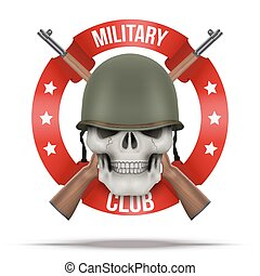 casco, símbolo, verde, cráneo, militar