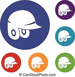 casco, set, baseball, icone
