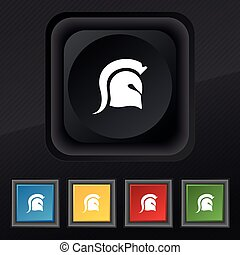 casco, set, spartan, simbolo., struttura, colorito, bottoni, vettore, nero, elegante, cinque, icona, tuo, design.
