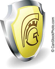 casco, spartan, concepto, seguridad, protector