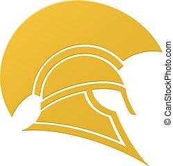 casco, spartan, o, trojan, icono