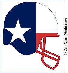 casco, stato, football, bandiera, texas