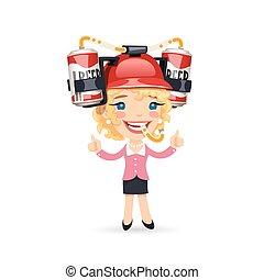 casco, testa, lei, ufficio, birra, ragazza, rosso