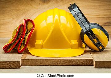 casco, tools., lavorativo, earphones., cuoio, giallo, guanti, sicurezza