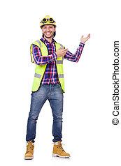 casco, trabajador, joven, aislado, construcción, blanco