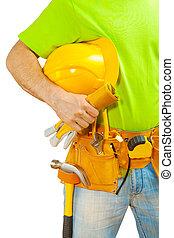 casco, trabajador, llevar a cabo la mano