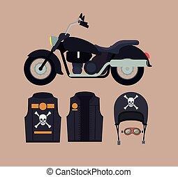 casco, trigo, cráneo, clásico, color, símbolo, chaqueta, motocicleta, plano de fondo, huesos