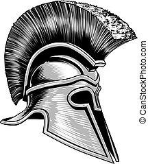 casco, trojan, antico, guerriero, spartan, greco