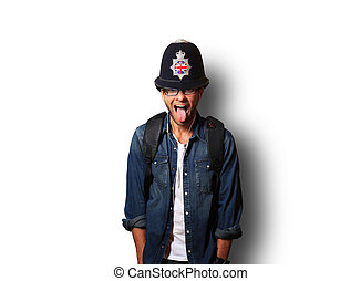 casco, uomo, giovane, britannico, poliziotto