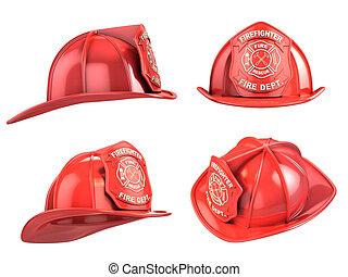 casco, vario, angoli, pompiere