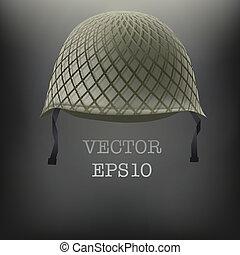 casco, vector, fondo verde, militar