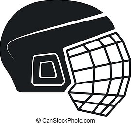 casco, vector, hockey, icono