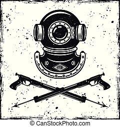 casco, vendimia, dos, spearfishing, buceo, armas de fuego