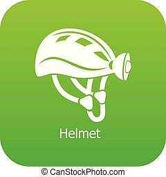 casco, vettore, verde, icona