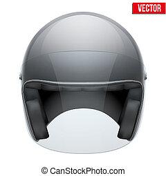 casco, visor., moto, clásico, claro, vidrio, negro, vector.