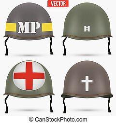 casco, wwii, m1, nosotros, conjunto, militar