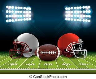 cascos, pelota, fútbol, ilustración, campo, norteamericano