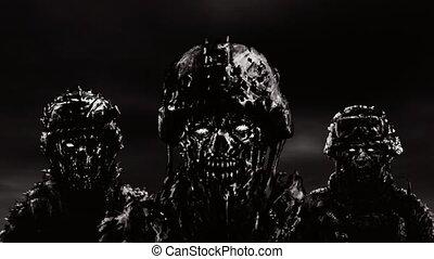 cascos, sky., horror., contra, tres, oscuridad, animación, estante, zombies, género, soldados
