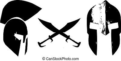 cascos, spartan, espadas