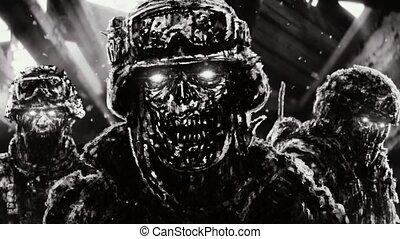 cascos, zombies, enojado, vuelo, tres, contra, clouds., oscuridad, estante, plano de fondo, soldados