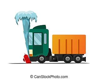 case., accident, abîmer, hydrant., road., vecteur, voiture, auto., illustration, assurance, rencontré, dessin animé, fracas, brûler, auto, véhicule, cassé