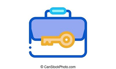 case and key Icon Animation. color case and key animated icon on white background