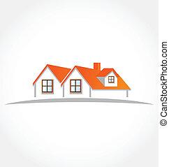 case, appartamenti, vettore, logotipo