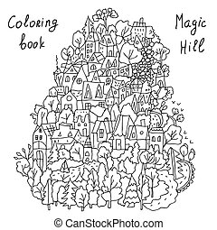 case, coloritura, cartone animato, paesaggio