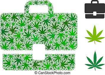 Case mosaic of cannabis leaves in various sizes and green tinges. Vector flat weed leaves are united into case composition. Addiction vector illustration.