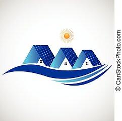 case, con, pannello solare, logotipo