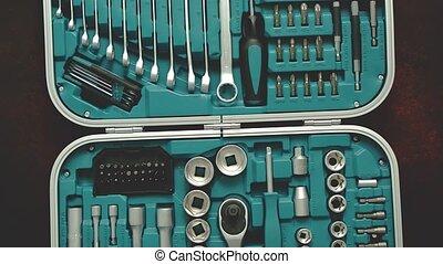 case., dur, tournevis, conduire, ensemble, professionnel, tassé, outils, clés, douilles, bits