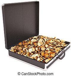 case full of golden coins. isolated on white.